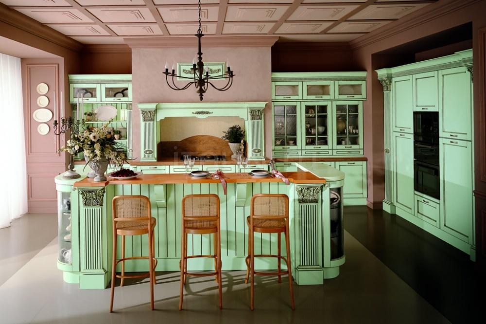 Кухня Solaria laccato verde flow Tomassi Cucine