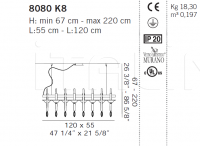 Подвесной светильник 8080 K8 De Majo Illuminazione
