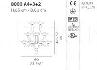 Настенный светильник 8000 A4+3+2 De Majo Illuminazione