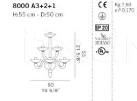 Настенный светильник 8000 A3+2+1 De Majo Illuminazione