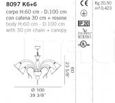 Люстра 8097 K6+6 De Majo Illuminazione