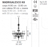Люстра MADRIGALESCO K8 De Majo Illuminazione
