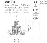 Люстра 6009 K12 De Majo Illuminazione