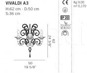Настенный светильник VIVALDI A3 De Majo Illuminazione
