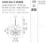 Люстра 2400 K6+3 SHADE De Majo Illuminazione