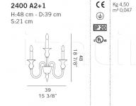 Настенный светильник 2400 A2+1 De Majo Illuminazione