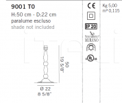 Настольный светильник 9001 T0 De Majo Illuminazione