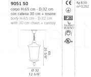 Подвесной светильник 9051 S0 De Majo Illuminazione