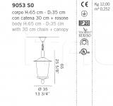 Подвесной светильник 9053 S0 De Majo Illuminazione