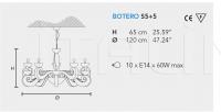 Подвесной светильник BOTERO S5+5 Masiero