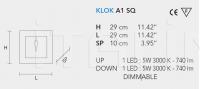 Настенный светильник KLOK LED A1 SQ Masiero