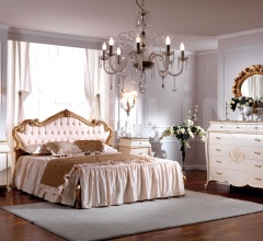 Wooden bed with decorated headboard Double bedroom  - OLIMPIA B / Double bed with upholstered headboard