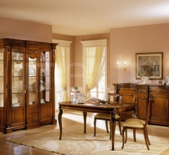 Showcase in decorated wood Sitting room  - REGINA NOCE / Showcase 2 doors with fixed central body
