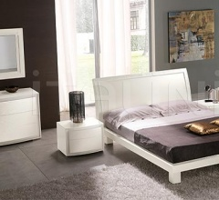 KUBE  line _ FUSION bed - white ash-wood, white similar crocodile leather