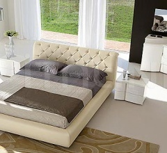 OPERA'  line, white ash-wood _ Letto VISION quilted leather, butter-colored