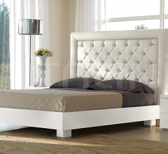CHIC  bed quilted leather white color, bed-frame white ash-wood