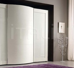 SAX wardrobe, white ash-wood, engroved white glass