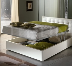 LUNA  line, white ash-wood _ DAMA bed with storage container