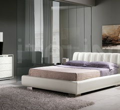 KUBE  line, pickled ash-wood/steel _ AXOR bed, white leather and storage container