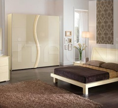 KUBE  line _ FUSION bed _ STAR wardrobe, vanilla color ash-wood, vanilla color crocodile leather