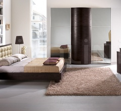 LUNA  wardrobe, coffe colored-ash, tinted mirrors _ OPERA' line _ DAMA bed, coffe colored-ash