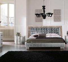 LUNA line, silver leaf _ LUXOR bed/mirror, silver leaf
