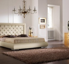 LUNA line, gold leaf, swarovski handle _ CHIC bed, quilted leather, swarovski, butter-colour leather