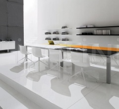 Han lacquered table with Bianco, Nero, Arancio and Senape tops.