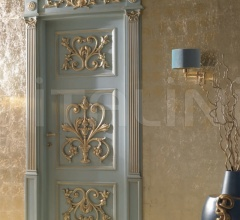 PALAZZO PETERHOF 7015/QQ/INT casing with cyma Louvre lacquered shaded blue with gold topcoat Classic Wood Interior Doors