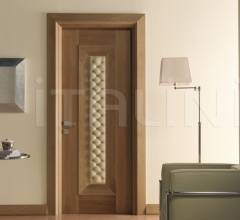 MONDRIAN 913/QQ/06 Natural Italian walnut quilted leather inserts 06 Modern Interior Doors