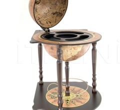 """Caravaggio"" corner globe with drinks cabinet - Rust"