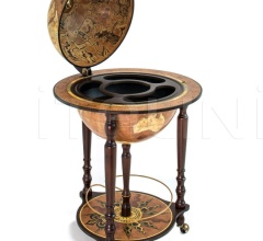 """Da Vinci"" floorstanding globe drinks cabinet on wheels - Rust"