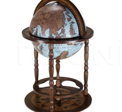 "Beech tree bar globe with storage space inside ""Giunone"" - Blue Ocean"