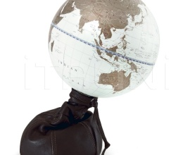 """Pungiball"" design desk globe on leather base - Chocolate Brown/White Gold"