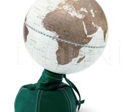 """Pungiball"" design desk globe on leather base - Emerald/White Gold"