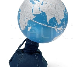"""Pungiball"" design desk globe on leather base - Jeans/Metallic Blue"
