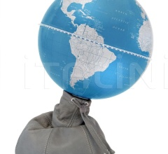 """Pungiball"" design desk globe on leather base - Stone Grey/ Metallic Blue"