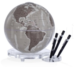 """Balance"" desk globe with plexiglass base penholder - Warm Grey"