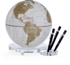 """Balance"" desk globe with plexiglass base penholder - White/Gold"