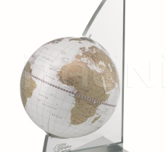 """Vela"" desk globe on plexiglass frame - White/Gold"