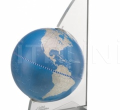"""Vela"" desk globe on plexiglass frame - Metallic Blue"