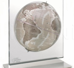"""Aria"" desk globe on plexiglass frame - Warm Grey"
