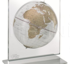 """Aria"" desk globe on plexiglass frame - White/Gold"