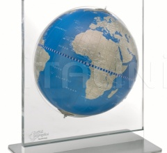 """Aria"" desk globe on plexiglass frame - Metallic Blue"