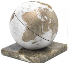 """Stone"" desk globe on marble base - White/Gold"