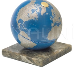 """Stone"" desk globe on marble base - Metallic Blue"