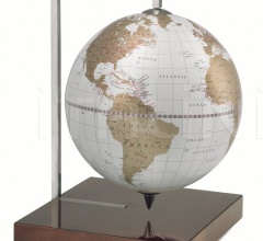 """Quadra"" desk globe on burl base - White/Gold"