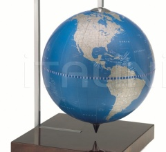 """Quadra"" desk globe on burl base - Metallic Blue"