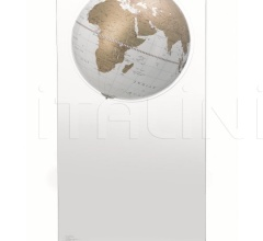 """Aria"" floorstanding globe on plexiglass frame - White/Gold"