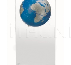 """Aria"" floorstanding globe on plexiglass frame - Metallic Blue"